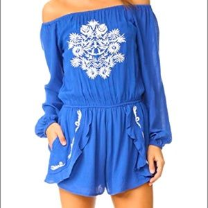 LOVERS + FRIENDS Blue embroidered BOHO ROMPER